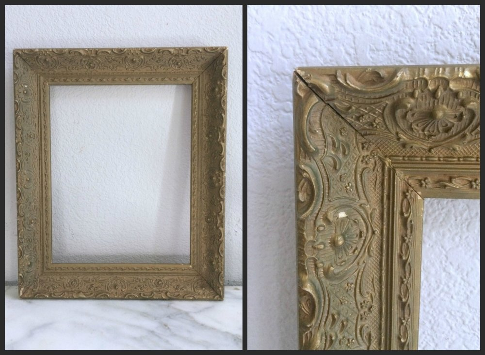 "SMALL - ANTIQUE GOLD FLORAL - 10""X 12"" X 2"" - $10"