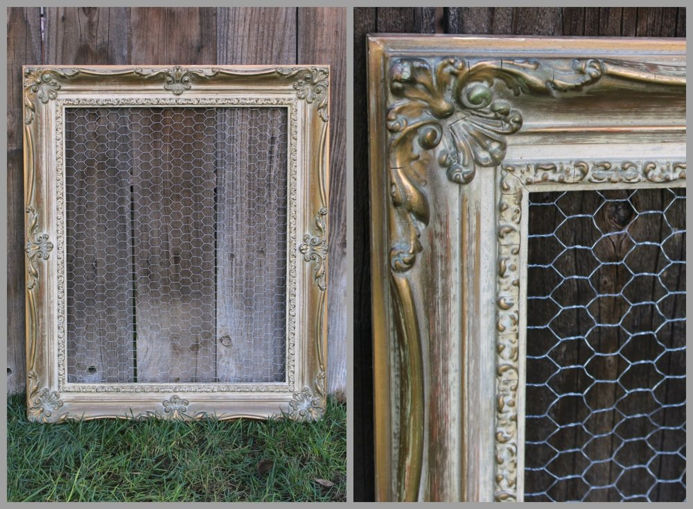 "LG - GOLD ORNATE- W/CHICKEN WIRE- 22"" X 25""X 3"" - $20"