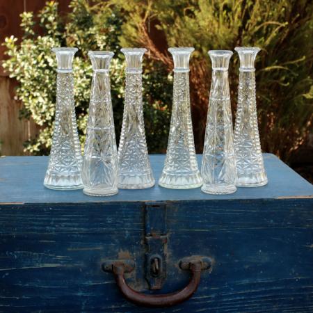 VINTAGE GLASS VASES - ASST. SIZES - $2 EACH    MORE DETAILS & PICS...