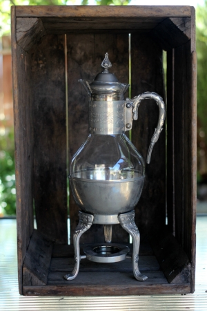 GLASS & PEWTER COFFEE POT - $15