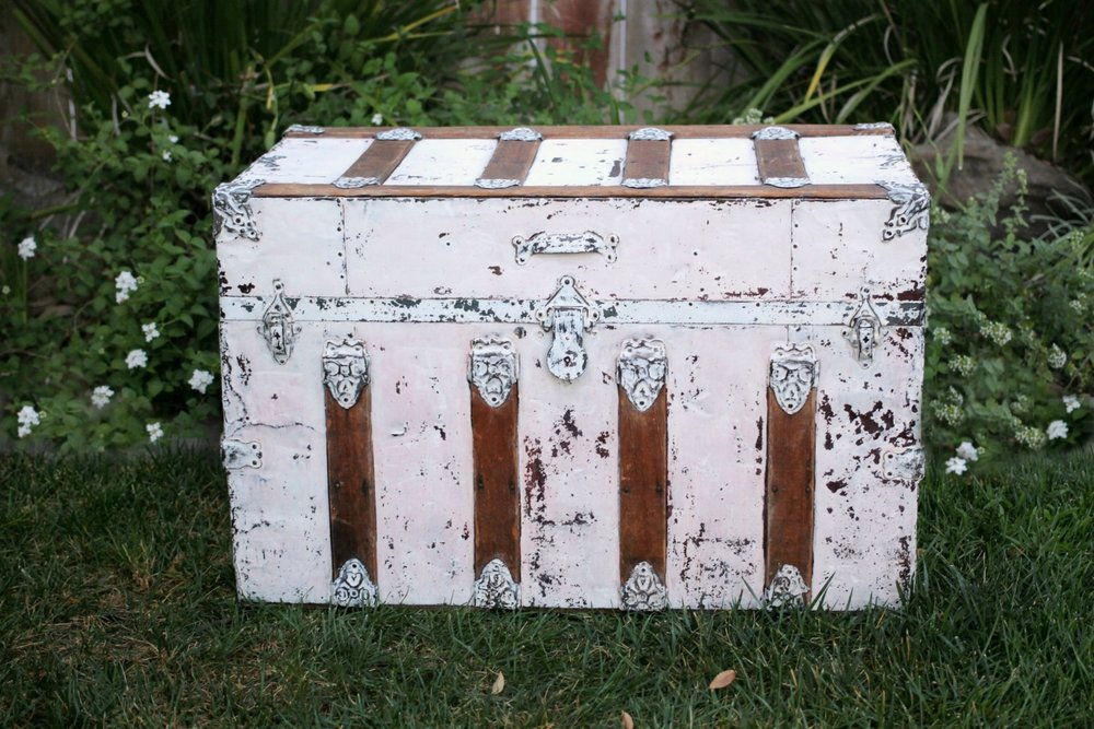 Painted Vintage Steamer Trunk