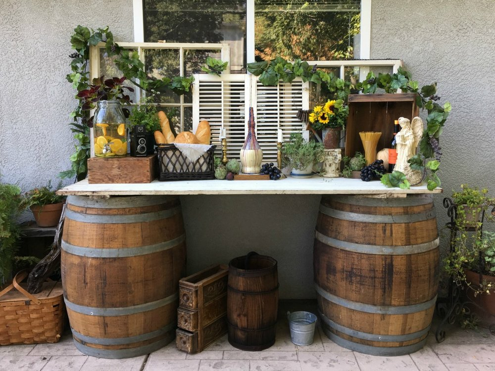 Vintage Wine & Pasta Bar - Wine Barrel Table