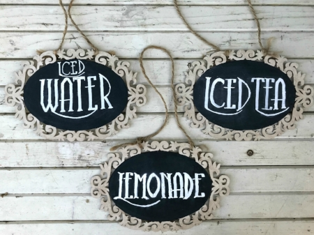 "HANGING CHALKBOARD DRINK SIGNS Iced Water, Iced Tea & Lemonade - $5/ea Qty available - 1 of each Size: 8-1/2"" x 5-1/2"""