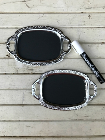 "SMALL, BLANK SILVER CHALKBOARD TRAYS Write your own message - $5/each Qty Available - 2  (3-1/2"" x 5""- chalkboard area)"