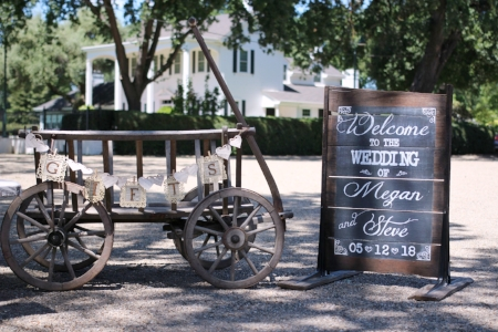 Gift Cart & Welcome Sign for Megan & Steve