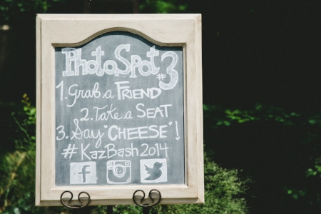 Photo Booth Chalkboard w/ Hashtag for Jake & Miranda's Pageo Lavender Farm Wedding
