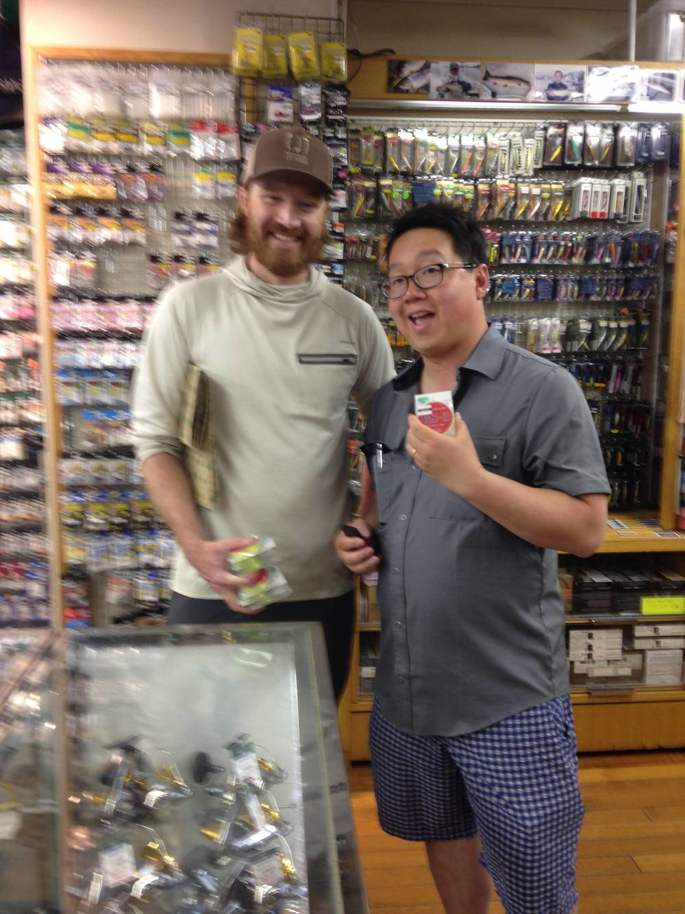 Erik (post-fishing) and An (pre-fishing) at the Sansui Tackle shop in Tokyo, Japan