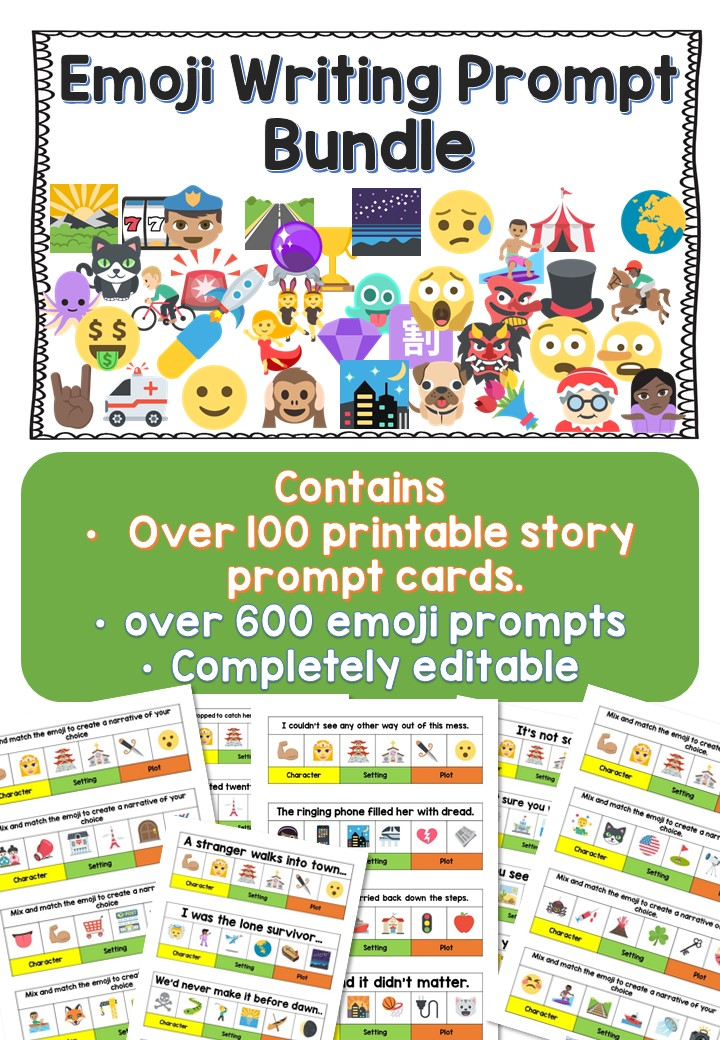 image relating to Free Printable Writing Prompts known as 25 Incredible Emoji Crafting Prompts for college students Literacy Plans