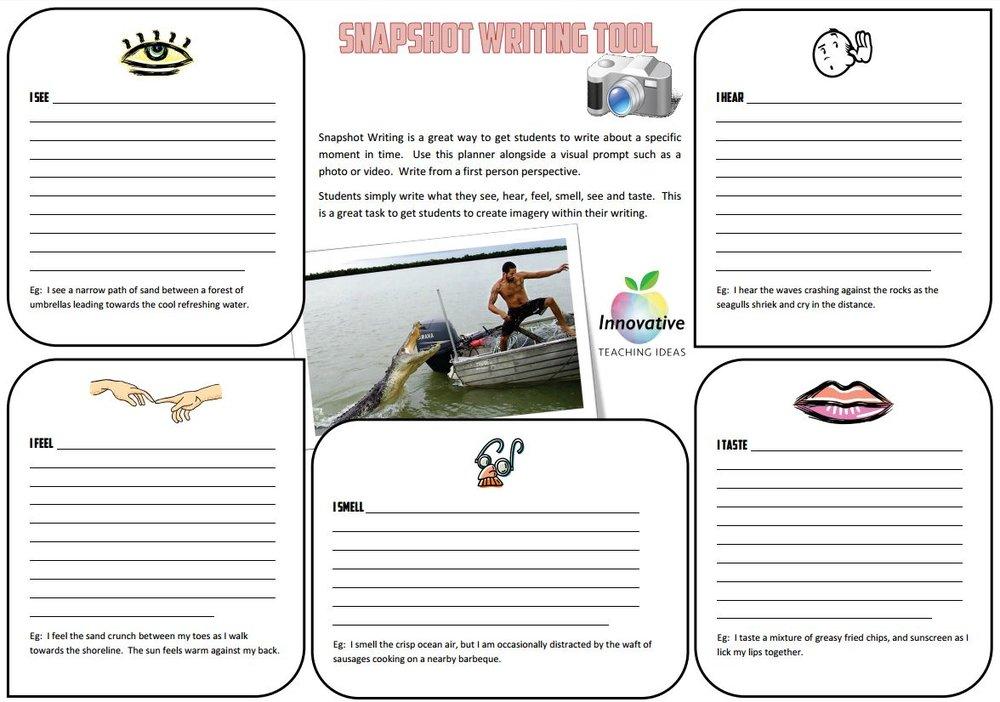 snapshot writing tool freebie  u2014 literacy ideas