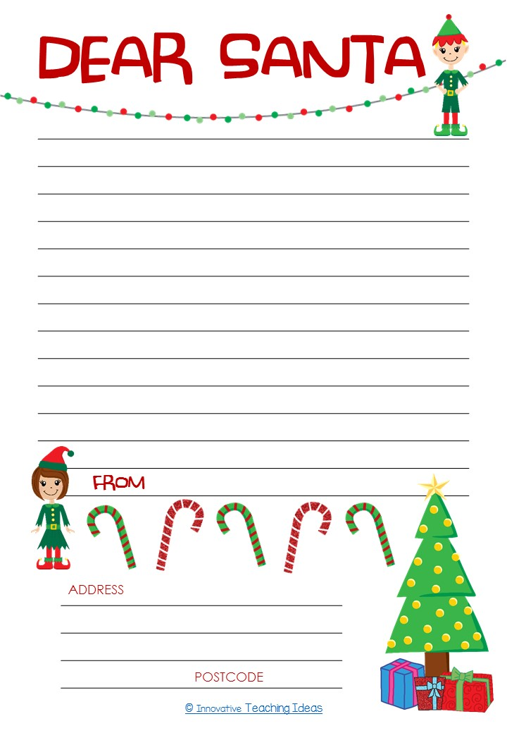 Dear santa letter template freebie literacy ideas for Dear santa template kindergarten letter