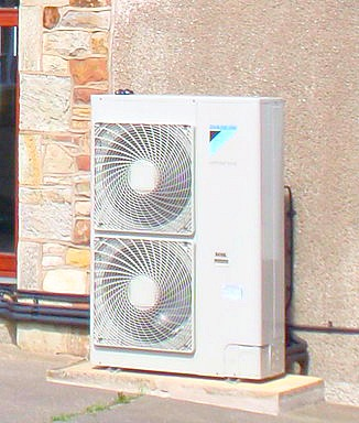 Air Source Heat Pump working it''s magic.