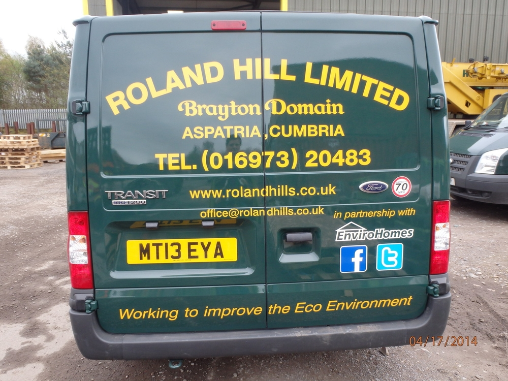 The new logos added to the back of the van