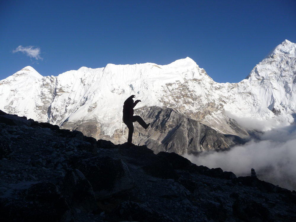 High in the Himalayas, Paul at Advanced base camp climbing Island peak, Nepal photo Sunstone collection
