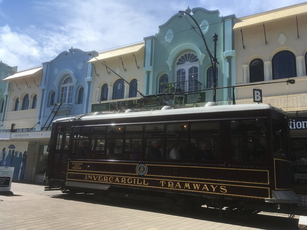 The tram passes on by in New Regent St, Christchurch photo by Sunstone
