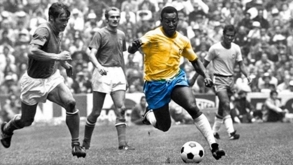 Pele of Brasil arguably the greatest footballer of all time