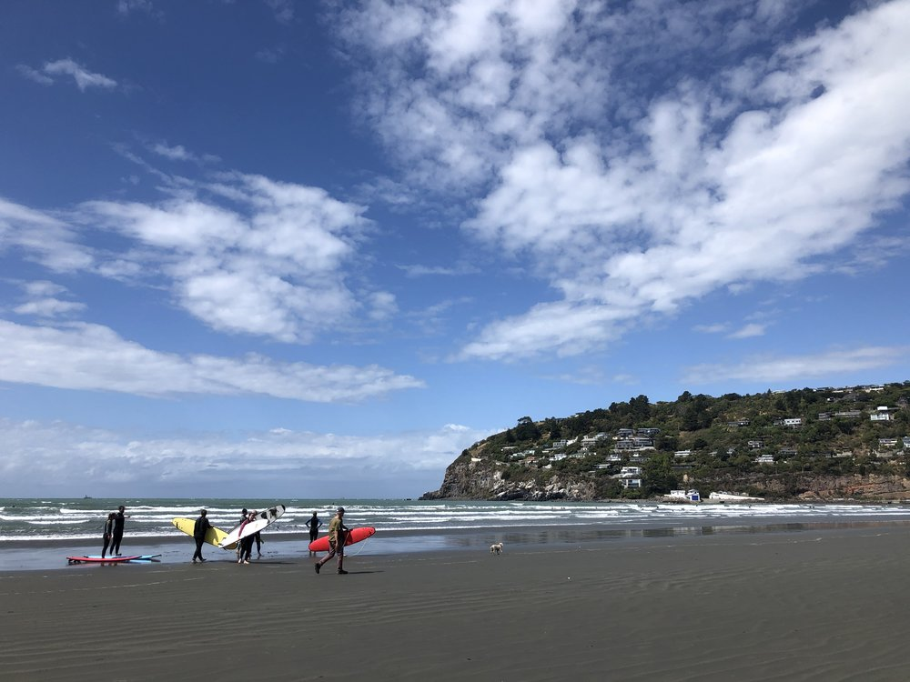 Surf school at Scarborough beach, Sumner, Christchurch photo by Sunstone
