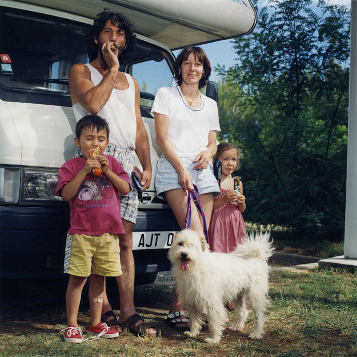 French family with camper and dog.   Area di servizio Autoporto, autostrada A10 Genova-Ventimiglia .   July 2000