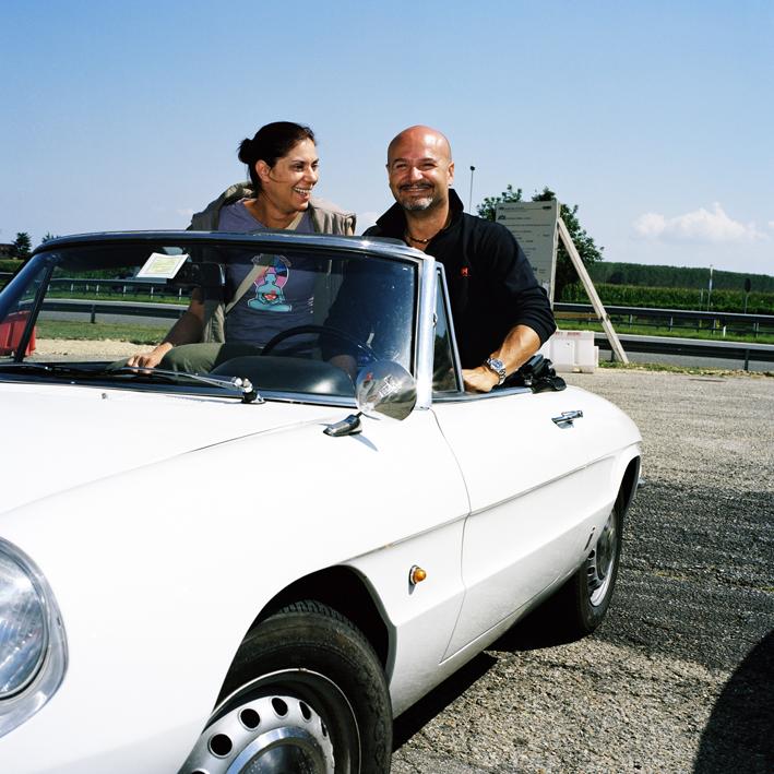 Italian couple.   Area di servizio Rio Cocchi Ovest, autostrada A6 Torino-Savona .   August 2008