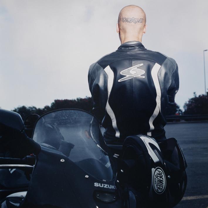 Austrian motorbiker.   Area di servizio Autoporto, autostrada A10 Genova-Ventimiglia .   July 2000