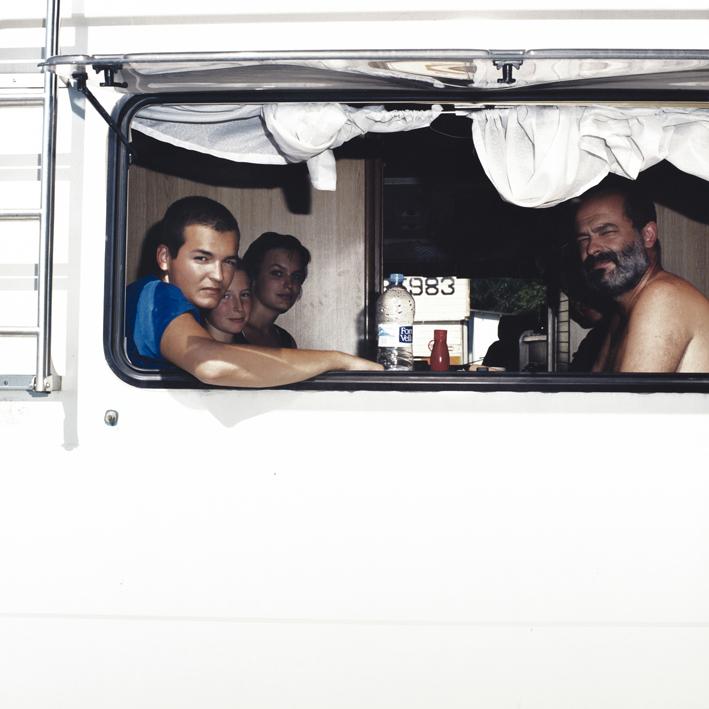 Spanish family with camper.   Area di servizio Santerno Ovest, autostrada A14 Bologna-Taranto .   August 2001