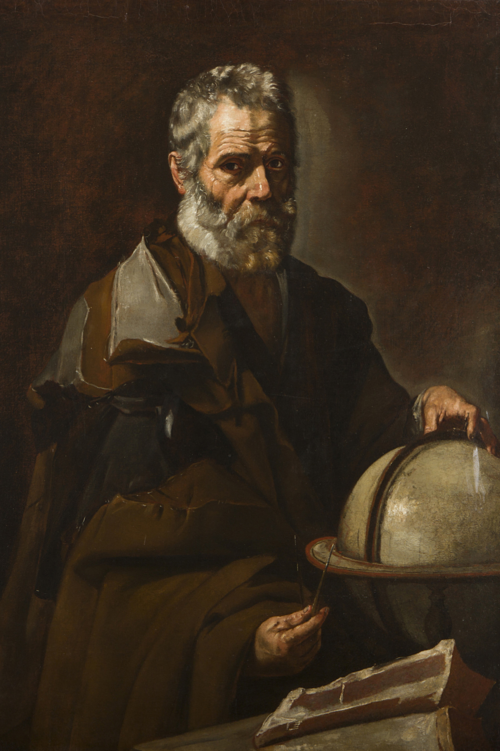 "Giuseppe Ribera attr.  ""Democrito"" , circa 1635  private collection"