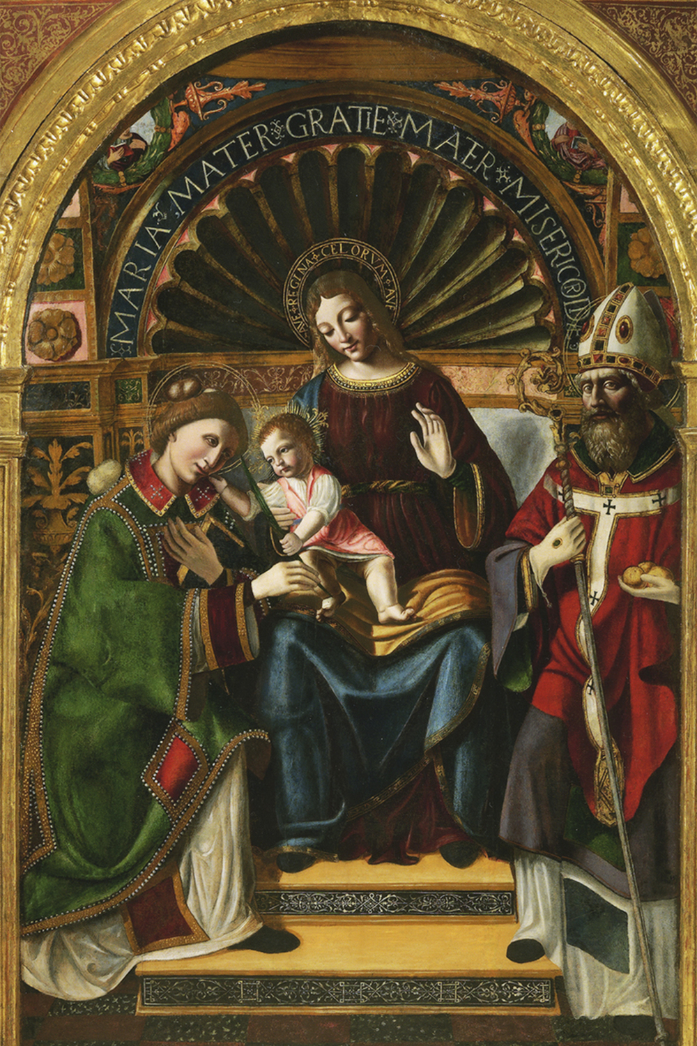"Maestro della Pala Sforzesca attr.   ""Virgin with Child, Sainth Steven Martyr and Saith Nicholas"" , end of 15th century  private collection"