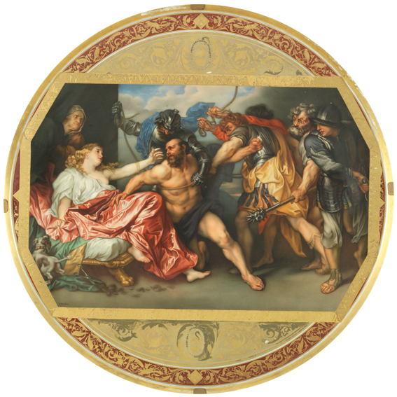 "Ceramic   ""Van Dick's Sanson and Dalida scene"",  19th century  private collection"