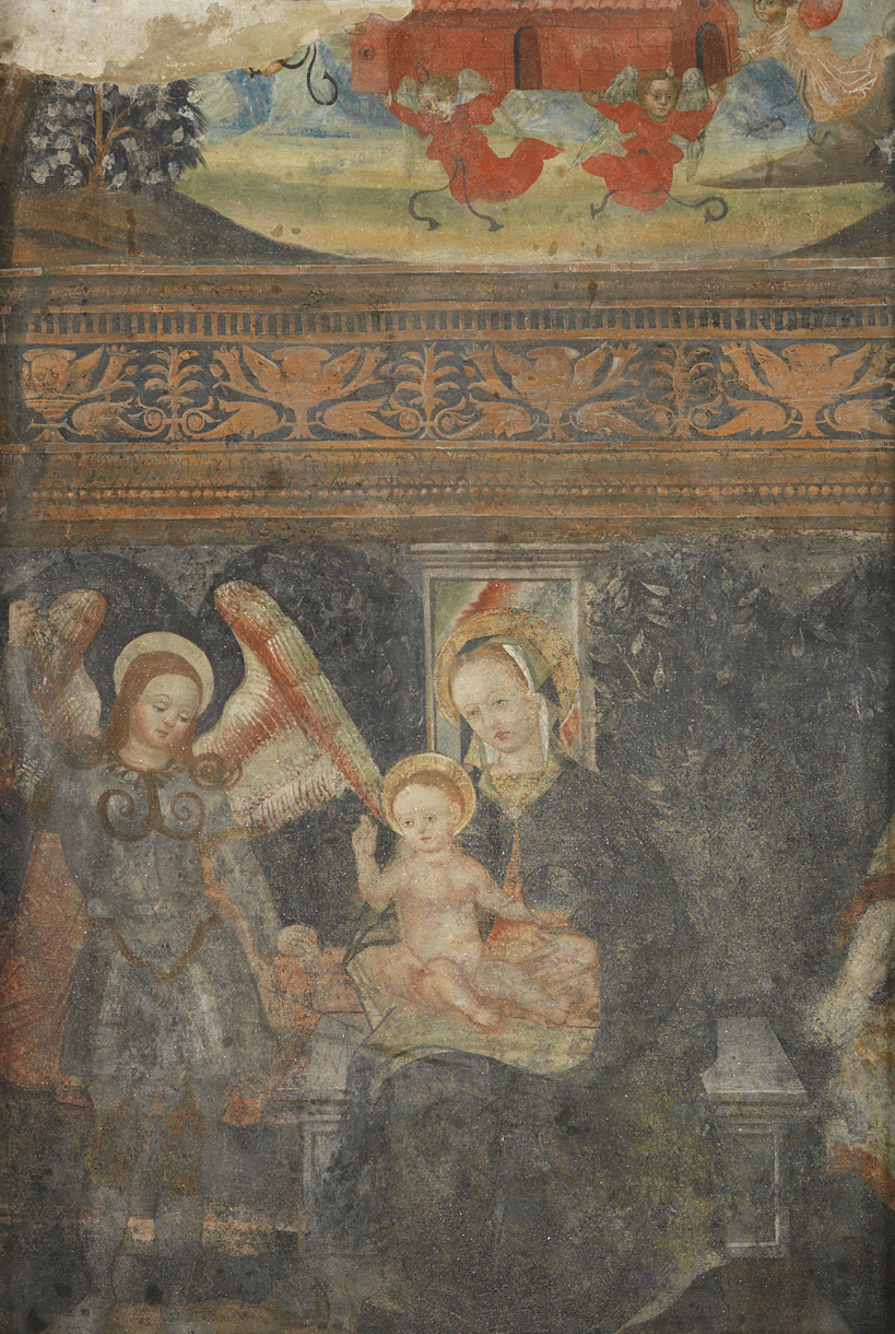 "Anonymous    ""Mother with Child and angels"", fresco 13th sec.  San Francesco church, Rivarolo Canavese, Turin"