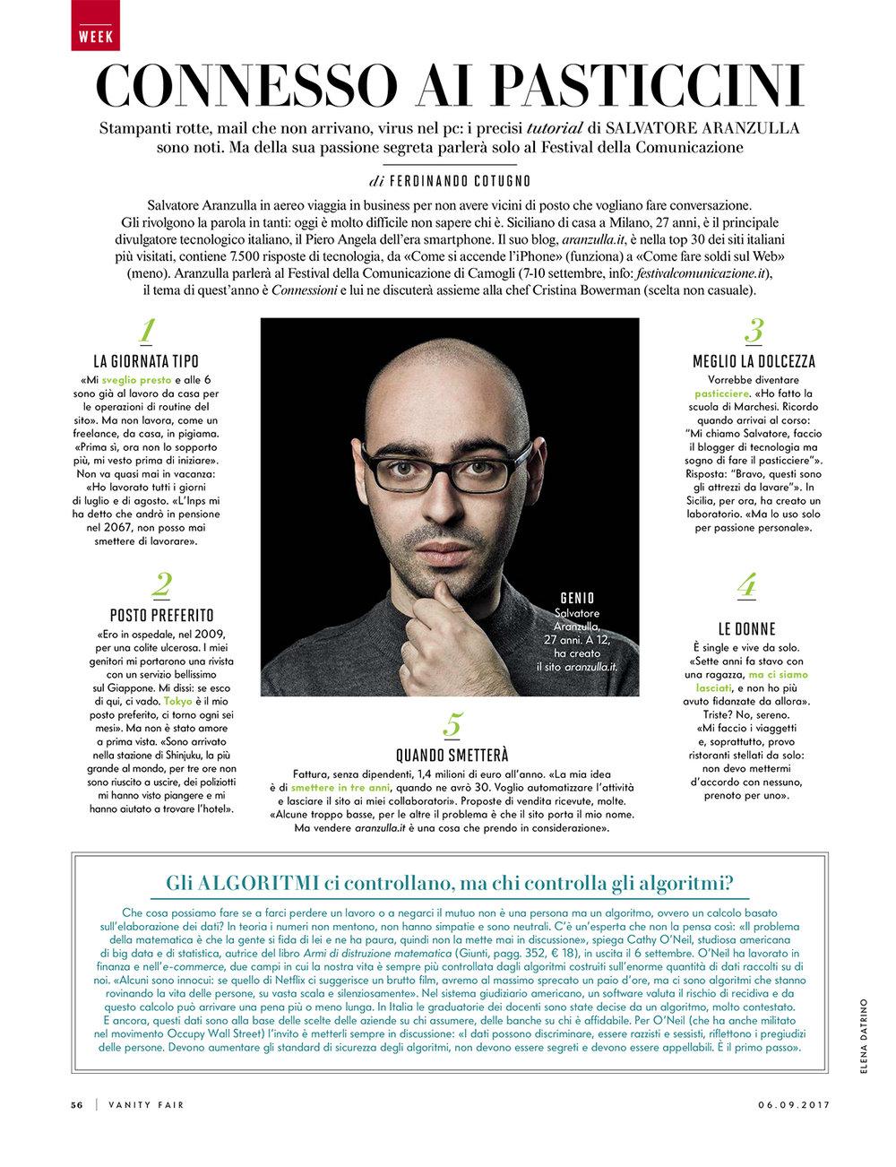 Vanity Fair Italia, september 2017