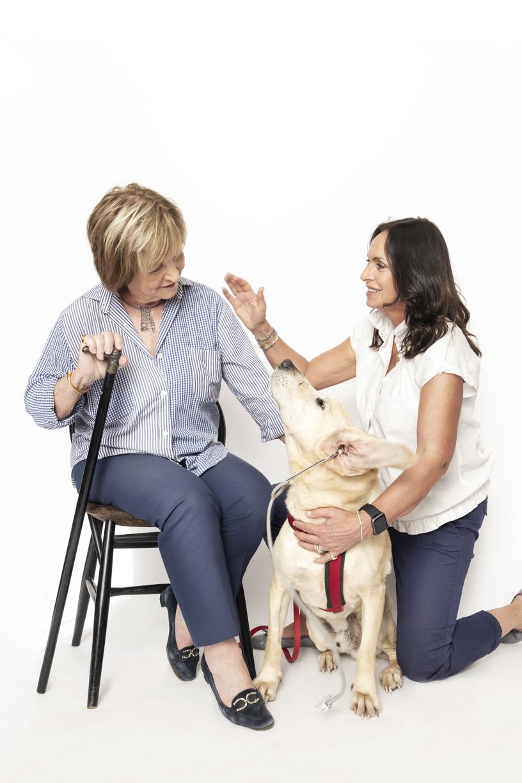 """Emma Pirovano and the voluntary pet therapist Daniela Fabrianesi  for la """"Casetta dei Sette Nani"""",  with Pludo"""