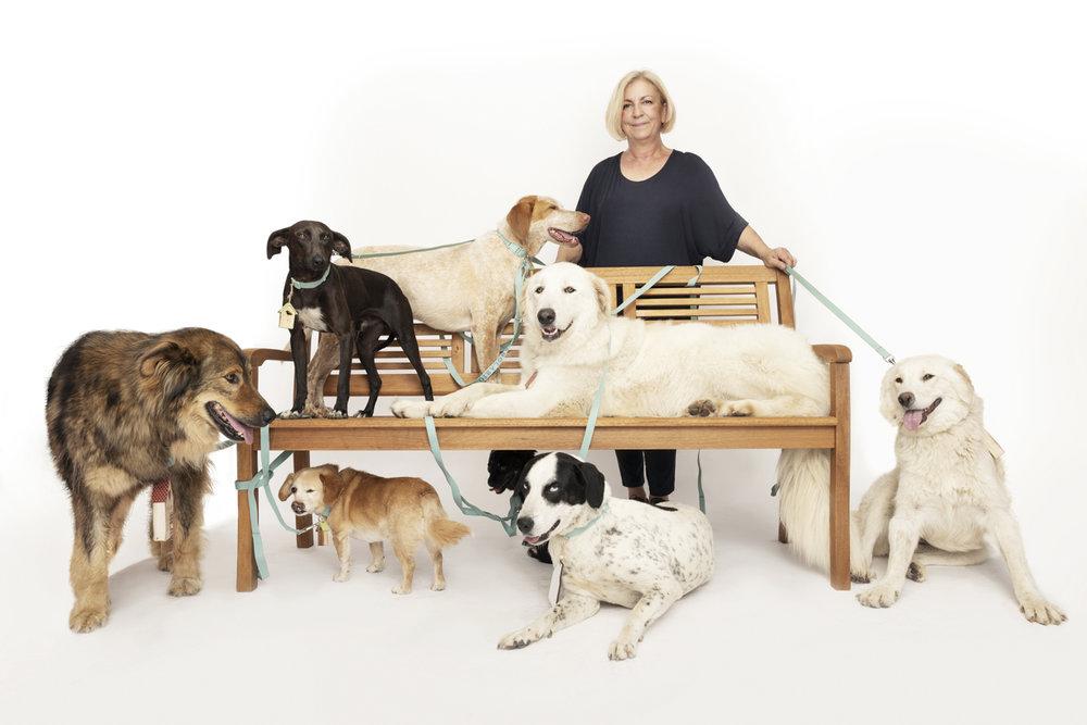 """Marina Pluda, dog hoster for """"La Casetta dei Sette Nani""""  with John,  Bambolino, Bella, Dama, Dobby, Caillou, Sugar"""
