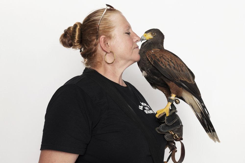 """Anna Flumeri, falconer for """"Il Regno dei Rapaci""""  with Ziwa, harris buzzard"""