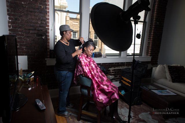 "Charleston, South Carolina Hair and Makeup Artist, Nivi Grimball, works attentively at Misherald looking fabulous for her ""Boardroom to Bedroom"" Makeover."
