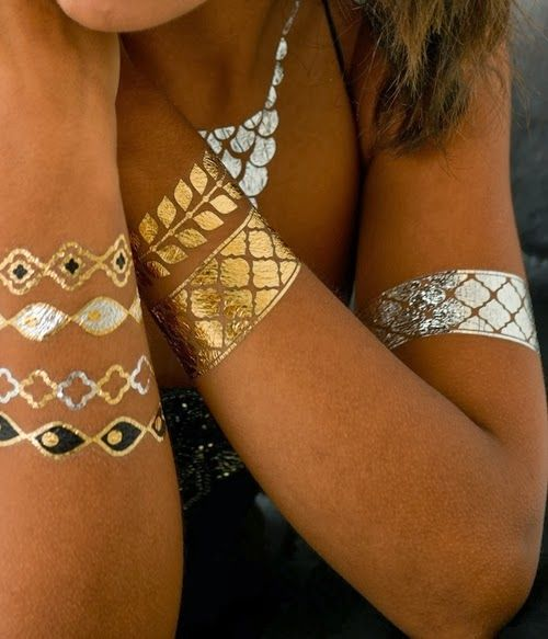 Metallic styled tattoos which are simple to apply and last 4-6 days