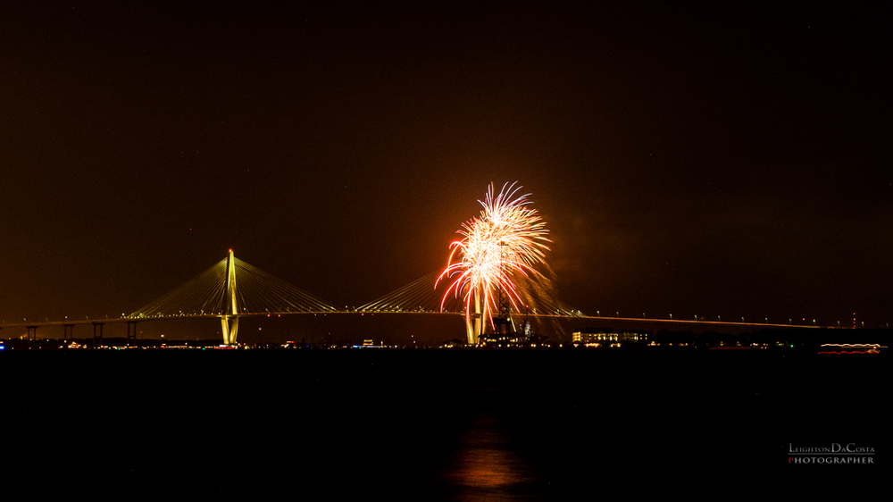 Straight out of camera Shot of the fireworks over Charleston Harbor