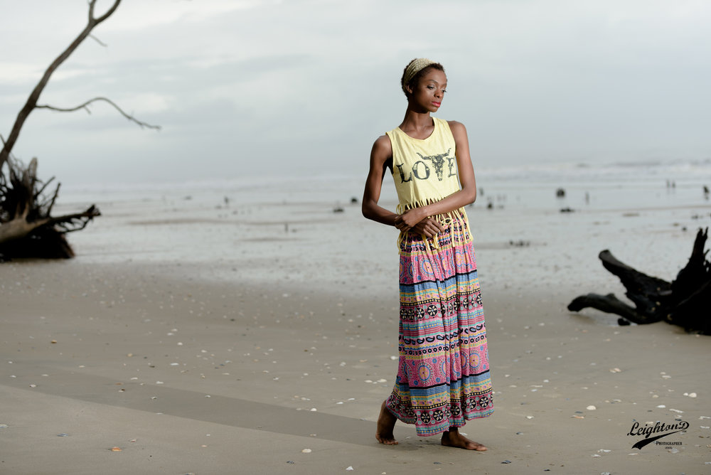 Jacksonville, FL Model: Shante Armstrong, serenely amongst the driftwood at Botany Bay Plantation in Edisto, SC.