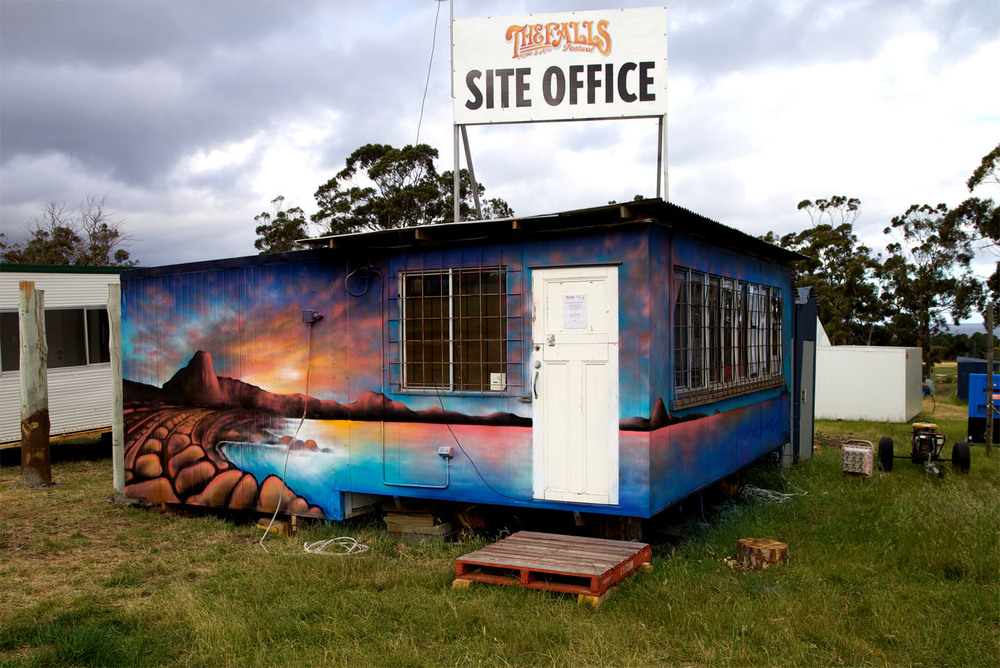 Site Office. The Falls Music + Arts Festival. Marion Bay, Tasmania.