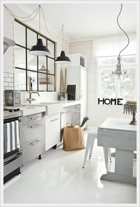 Find black industrial lights like this from urban cottage industries for £194.40 or the Habitat Emanuelle for £50 or just buy the shade from Myhaus for £29.99. John Lewis has a great selection ranging from £450 for the Davey black with copper lining to the Penelope in a range of colours for £45 and the brass Antonio. Buy a white Tolix stool from Made in Design.