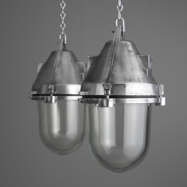 These Eastern Bloc factory lights are from  Skinflint Design  and cost £320 each.