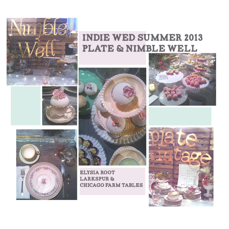 Nimble Well cake stands and Plate vintage place settings at Summer Indie Wed