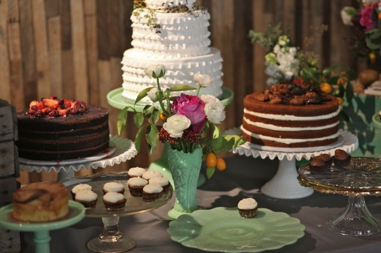 Vintage milk glass cake stands and jadeite cake stands, gold cake stands for rent, desserts by Luscious Layers , photo by Abbie Buhr.