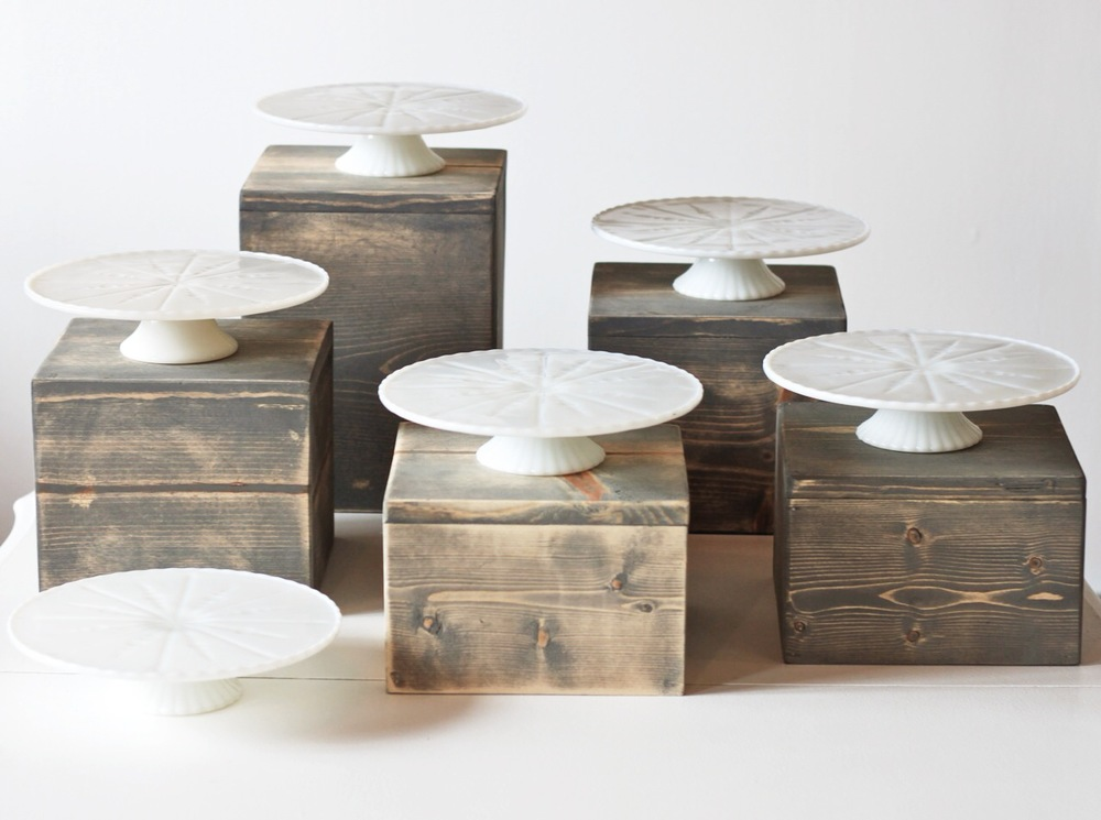 milk glass pedestals and custom wood boxes