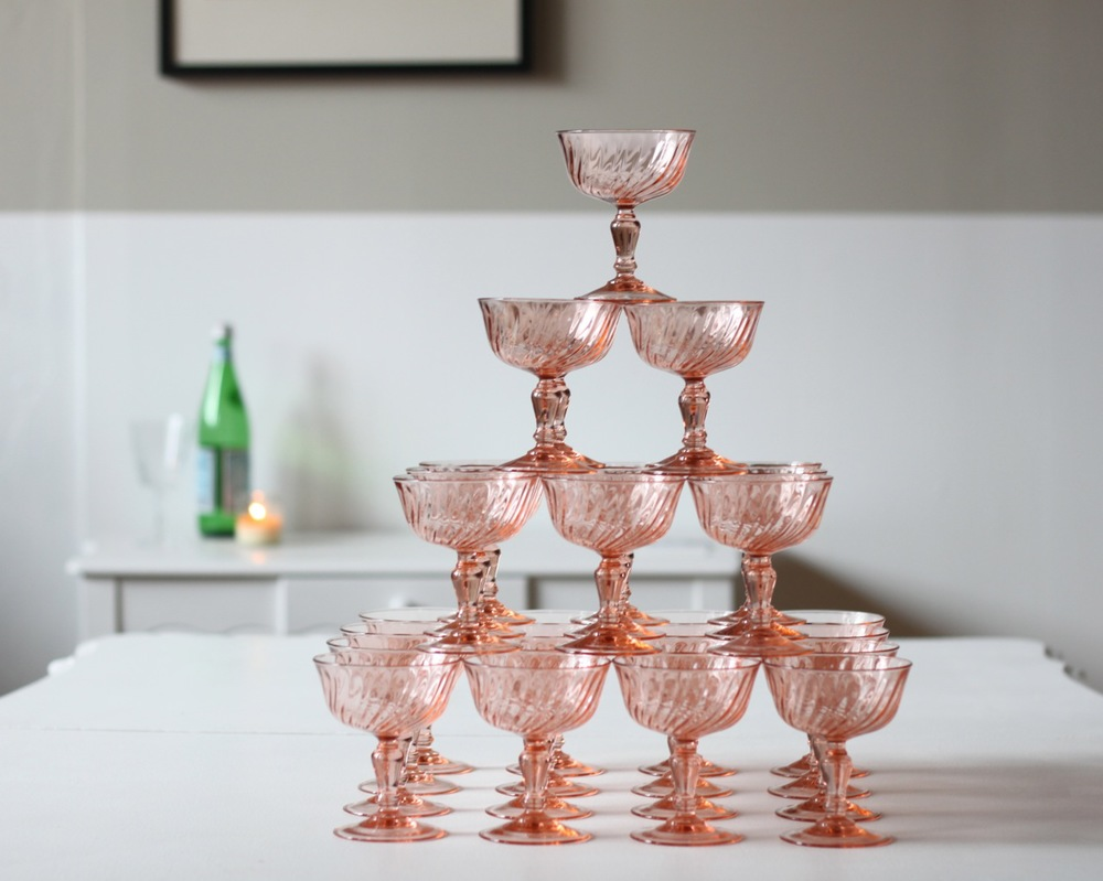 all-matching rose champagne coupes