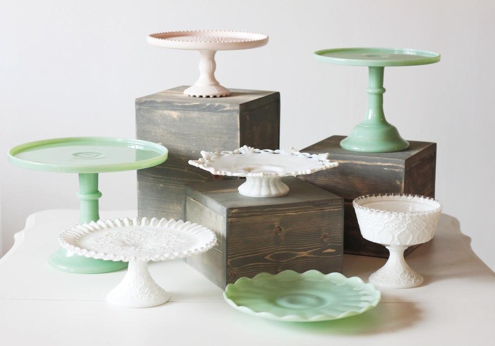 jadeite and pink milk glass pedestals
