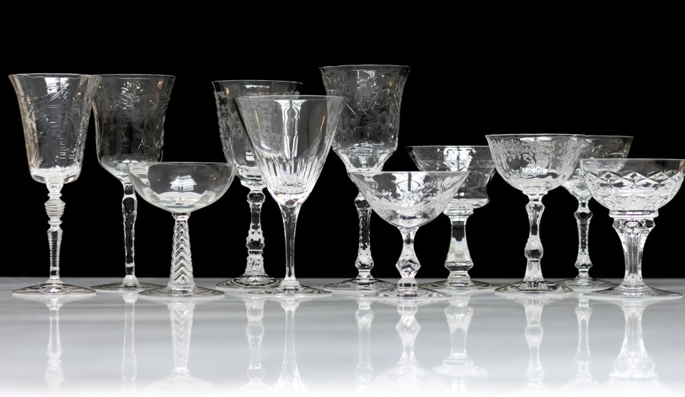 cut and etched crystal wine glasses & champagne coupes