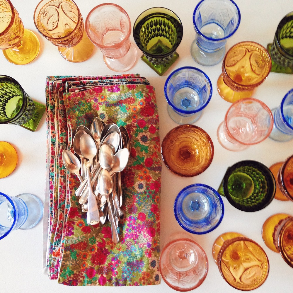colorful glasses & Liberty of London print napkins