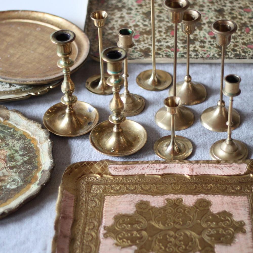 Florentine trays & brass candlesticks