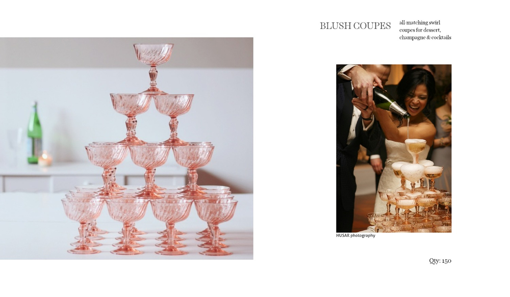 vintage pink champagne coupes