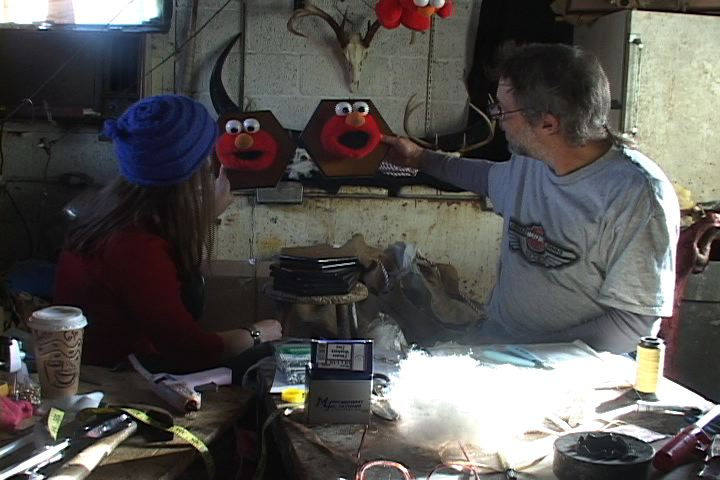 film still from   The Documentary of Live Pelt, The Taxidermist    (2002) co-directed by Kelly Heaton and Shambavi Kaul videography by Joshua Gibson