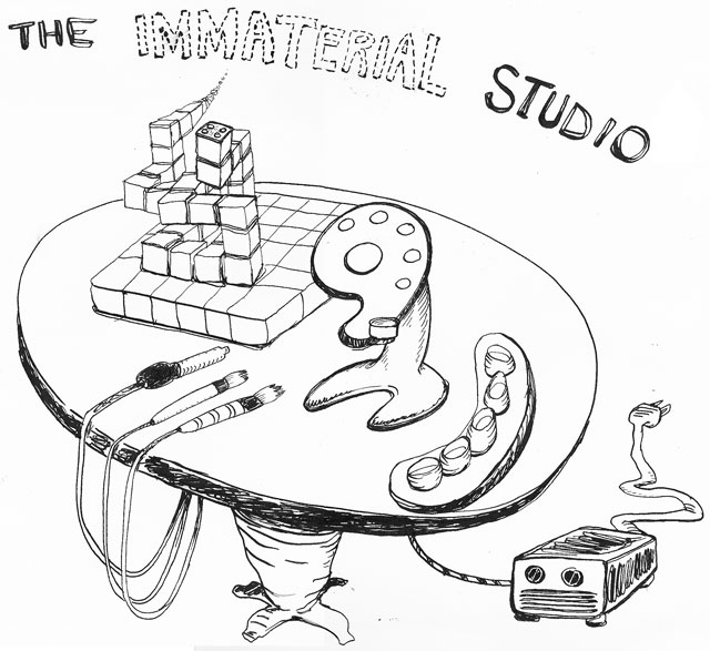 sketch for   The Immaterial Studio  , digital tools for painting and sculpture  (2000) ink on paper